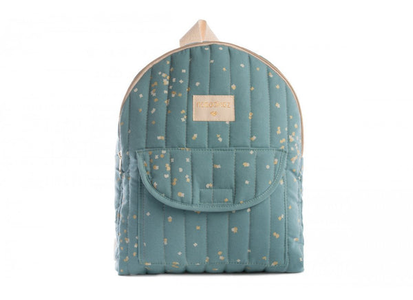 Nobodinoz Cool Kid Backpack in Gold Confetti / Magic Green (Large) - Scandibørn