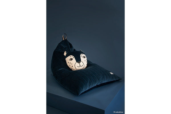 Nobodinoz Essaouira Velvet Bean Bag in Night Blue - Scandibørn
