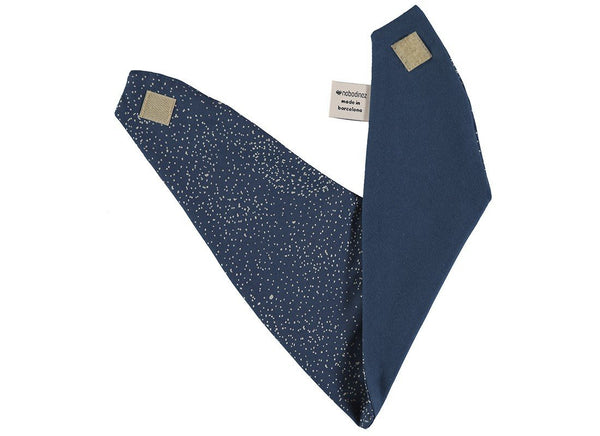 Nobodinoz Lucky Bandana Bib in Gold Bubble / Night Blue - Scandibørn