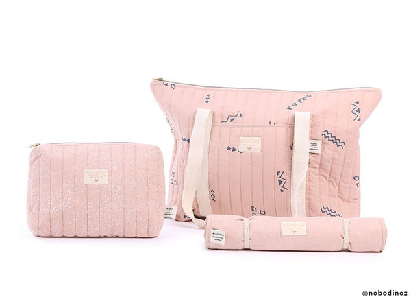 Nobodinoz Nomad Changing Pad in White Bubble / Misty Pink - Scandibørn