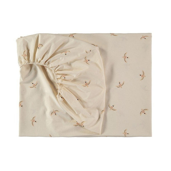 Nobodinoz Tibet Fitted Sheet in Nude Haiku Birds Print - Scandibørn