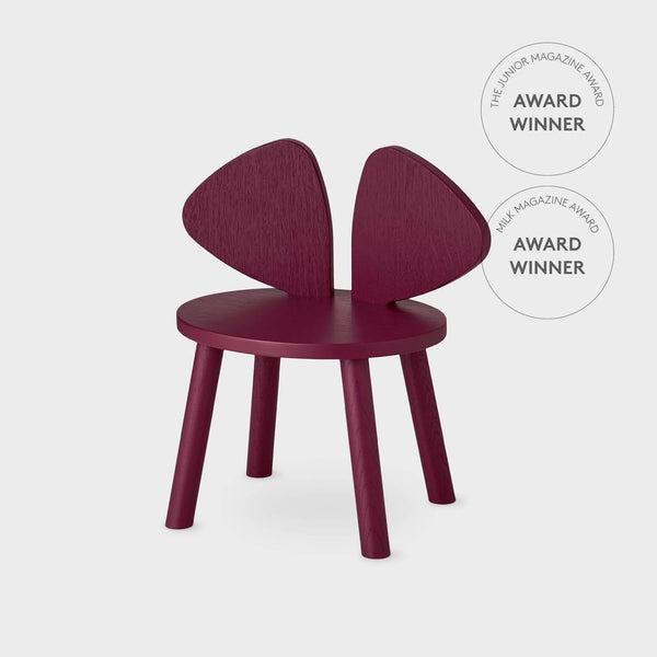 Nofred Mouse chair in burgundy (2-5 years) - Scandibørn