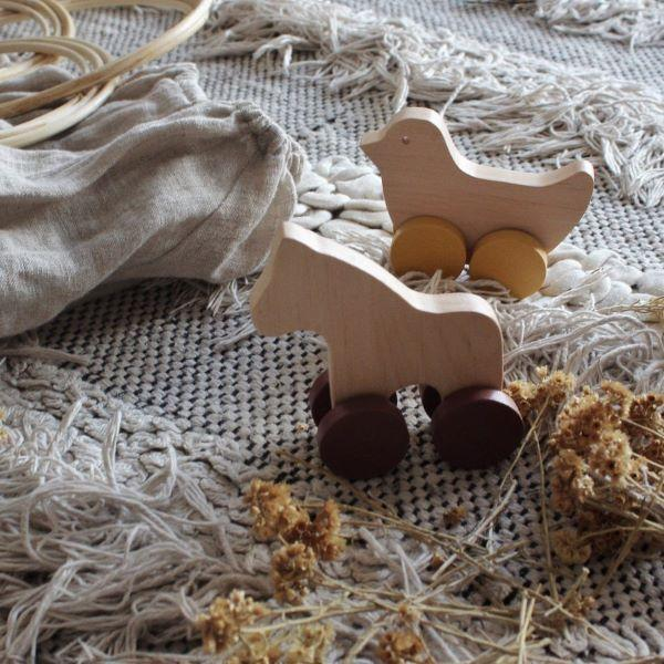 Pinch - Horse and Bird Wooden Push Along Toys