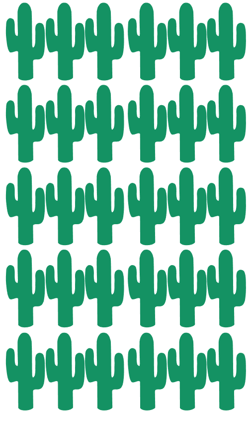 Pom Le Bon Homme Cactus wall transfers in green - Scandibørn