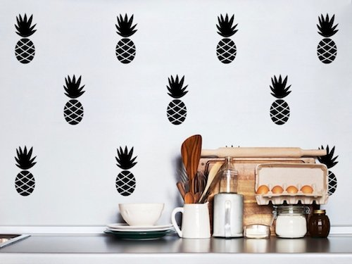 Pom Le Bon Homme Pineapple wall transfers in black - Scandibørn