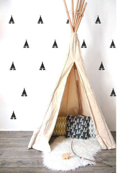 Pom Le Bon Homme Teepee wall transfers in Black - Scandibørn