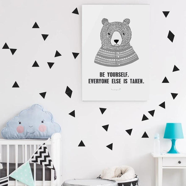 Pom Le Bon Homme Triangle wall transfers in black - Scandibørn
