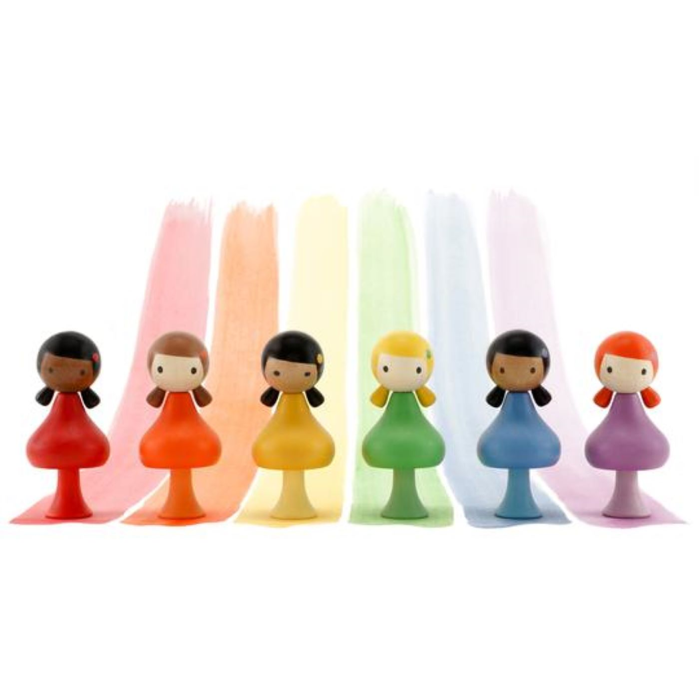 Clicques - Rainbow Girls Wooden Figurines (set of 3)