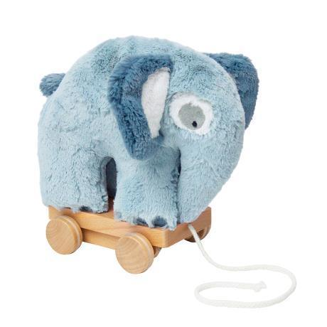 Sebra Plush pull-along elephant toy in blue - Scandibørn