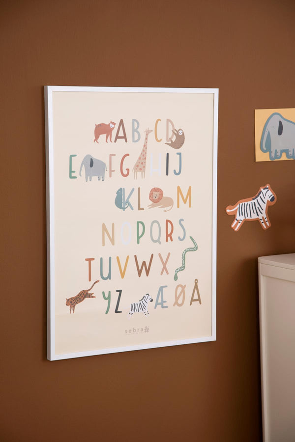 Sebra Poster Wildlife Danish Alphabet - Scandibørn