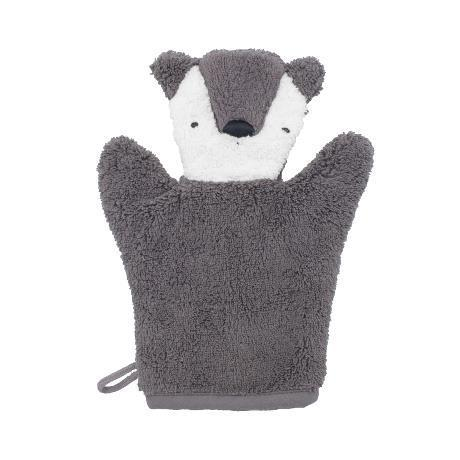 Sebra washcloth - Milo Bear Grey - Scandibørn