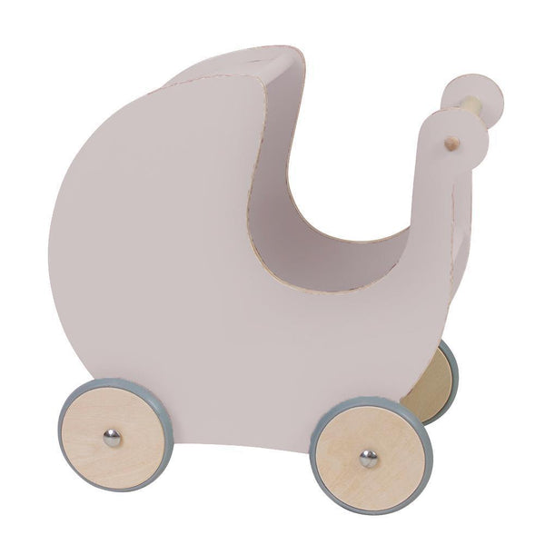 Sebra Wooden doll's pram in Dusty Pink - Scandibørn