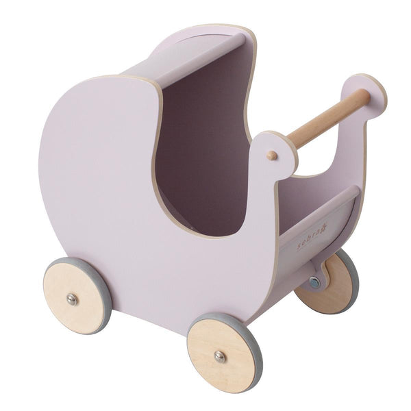 Sebra Wooden Doll's Pram in Morning Cloud Pink - Scandibørn