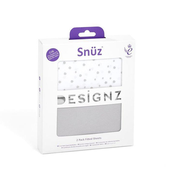 Snüz Crib 2 Pack Fitted Sheets in Grey Spots - Scandibørn