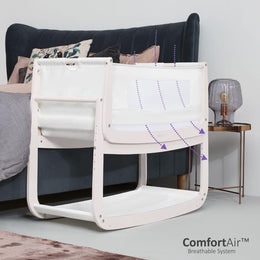 SnuzPod 4 - Bedside Crib 3 in 1 in Rose White (with mattress) - Scandibørn