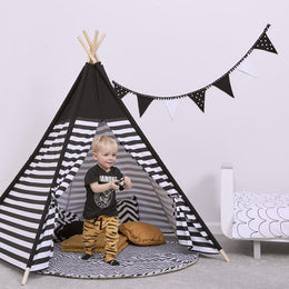 Snuzpod Kids Teepee Play Tent Black Stripe - Scandibørn