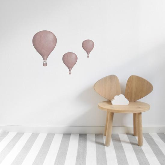 Stickstay Three Balloons wall transfers in Dusty Rose - Scandibørn