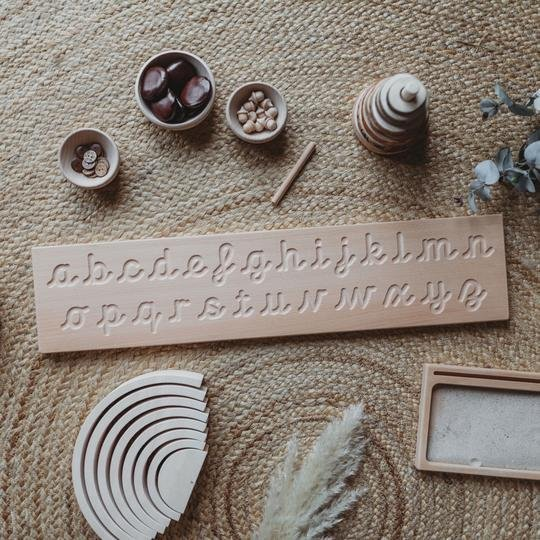 The Little Coach House Wooden Cursive Alphabet Tracing Board