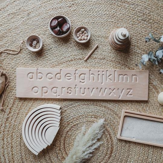 The Little Coach House Wooden Double Sided Alphabet Tracing Board