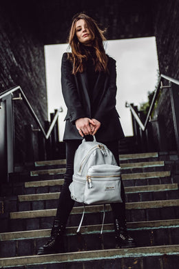 Tiba and Marl Miller Backpack in Pale Grey Tumbled Leather - Scandibørn