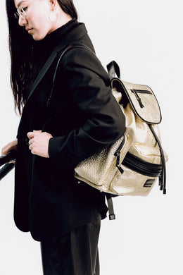 Tiba & Marl Kaspar Knapsack in Gold Leather - Scandibørn
