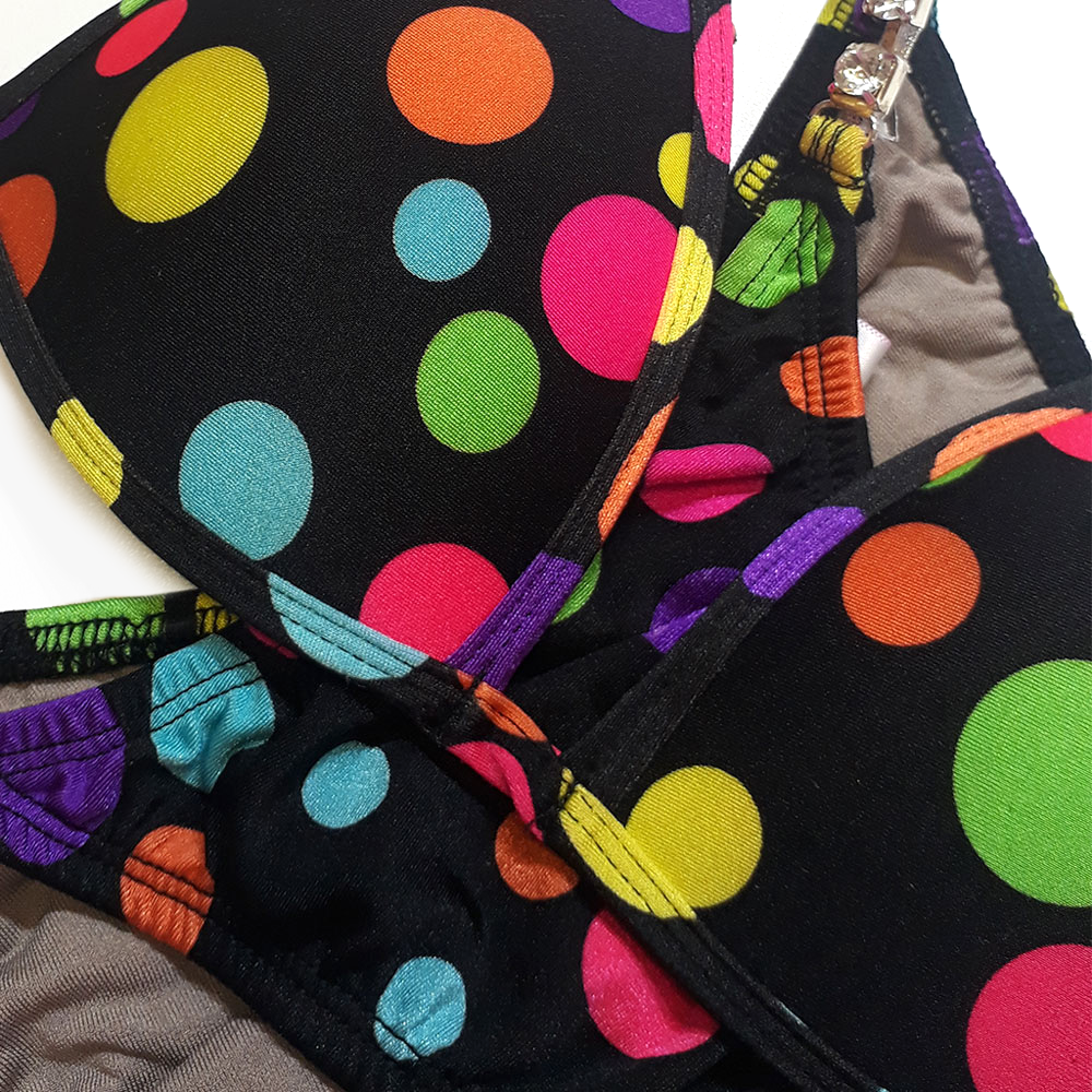 Bikini No.29 Black Lycra with Rainbow Polka