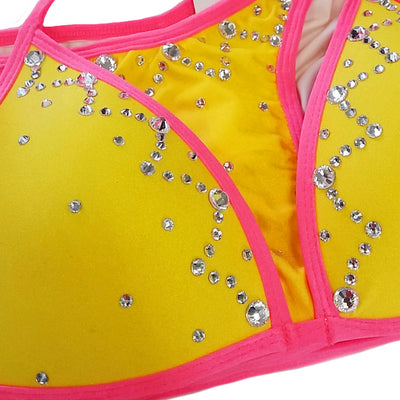 Bikini No. 06 Yellow & Coral with Clear Crystals