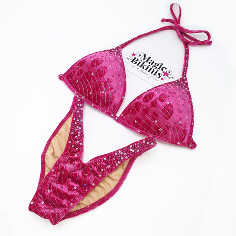 Bikini No. 116 Fuchsia Pink Velvet with Pink Crystals