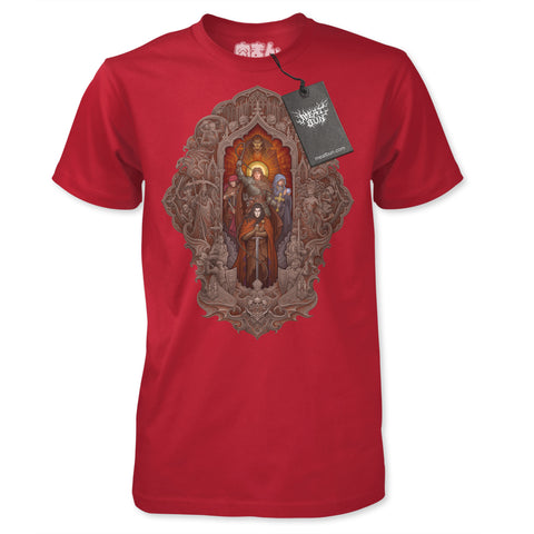 Dracula's Curse - by Meat Bun - Stained Glass Altar T-Shirt - Cardinal Red