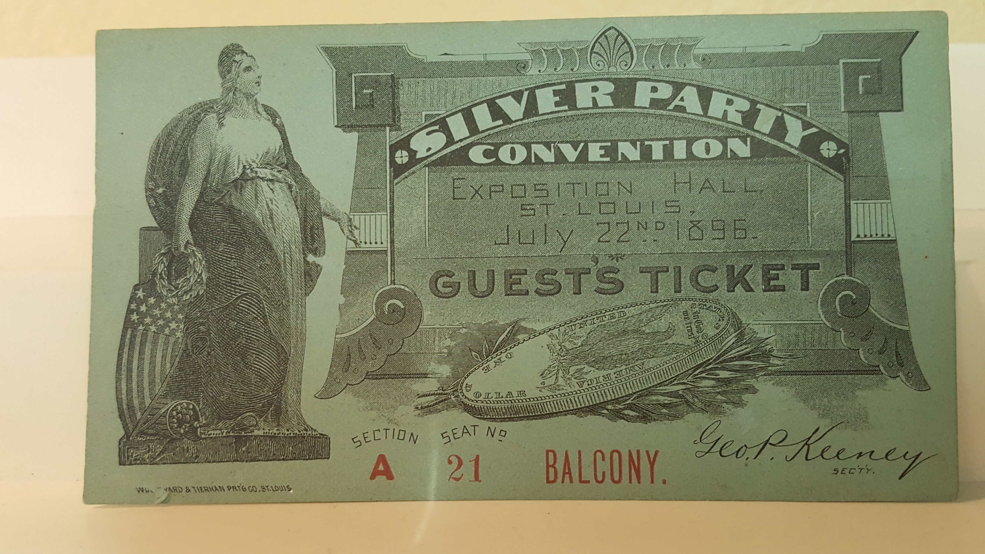 Silver Party July 22nd. 1896 guest ticket – Florida Curios