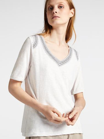 V-Neck Embroidered T-Shirt