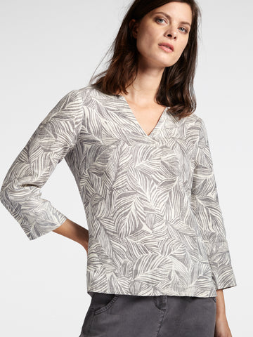3/4 Sleeve Leaf Pattern Blouse