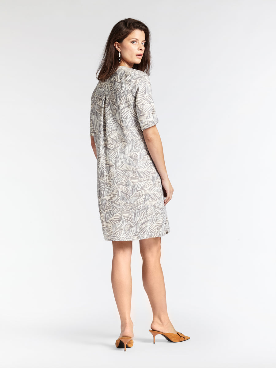 Leaf Pattern Linen Dress
