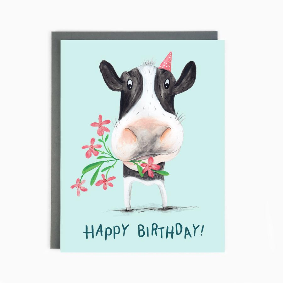 Happy birthday cow card