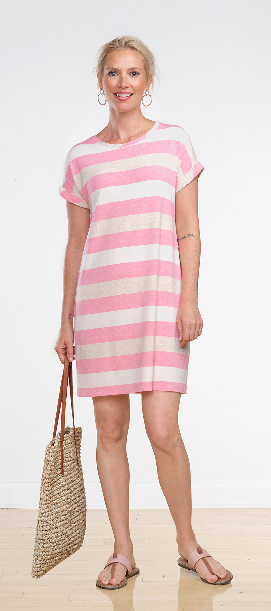 Pink Liz Rolled Sleeve Dress