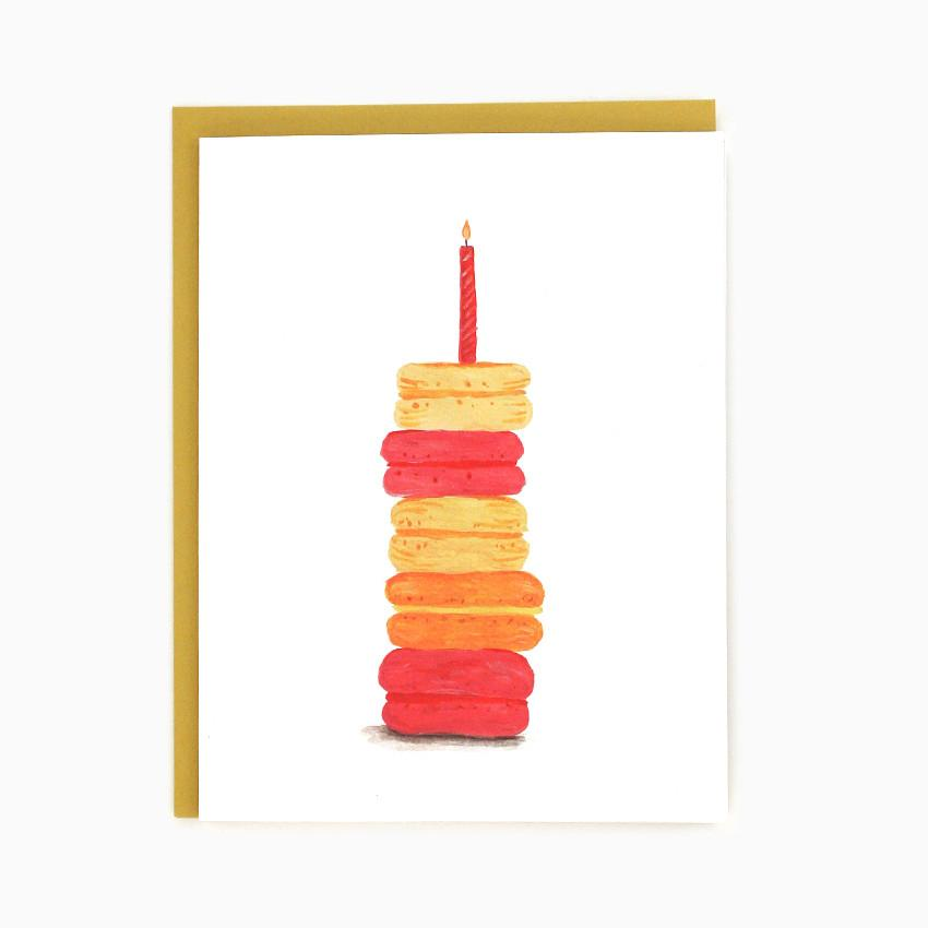 Macaroons with birthday candle card