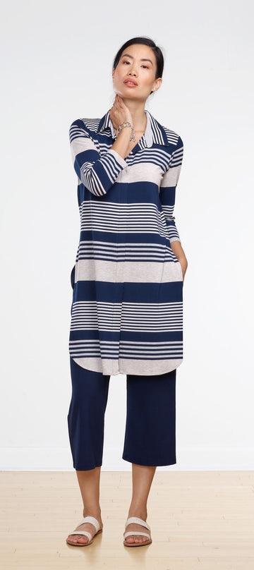 Becca Collared Tunic - Nautical Stripe