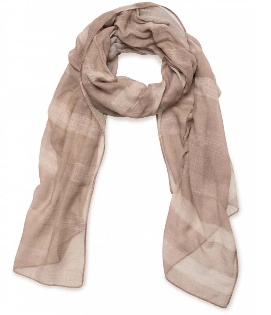 Slub Scarf with Stripe Print