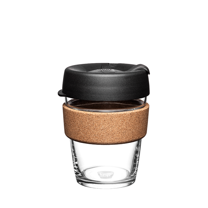 12oz Glass Coffee Cup Cork Band