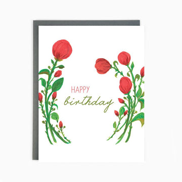 Happy birthday red poppy card