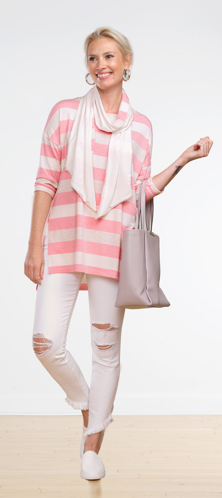 Pink Nikki Drop Shoulder Tunic