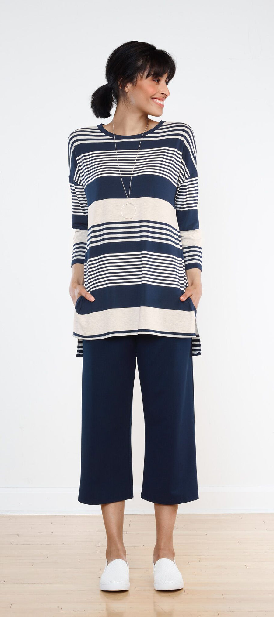 Nikki Drop Shoulder Tunic - Nautical Stripe