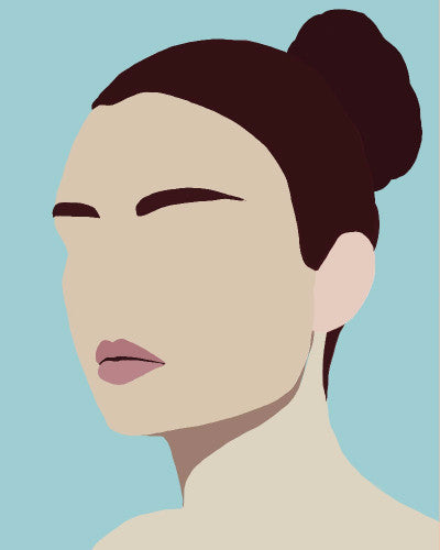 """Amelia"" by Jules Tillman is a minimal, modern portrait of a woman with dark brown hair pulled back into a bun and dusty aqua background."