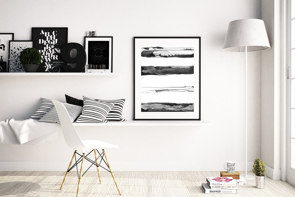 """Horizons"" by Jules Tillman Fine Art Print modern minimalist mixed media watercolor painting black and white stripes"