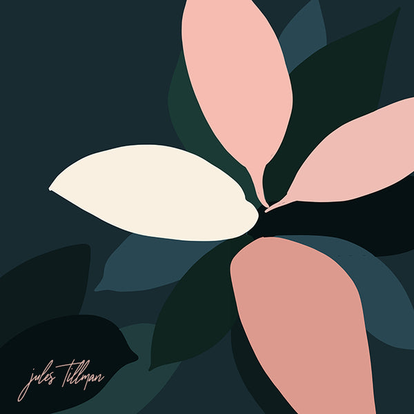 This minimal, modern botanical print art by Jules Tillman has a fresh, Jungalow style. With its millennial pink, green, deep aqua, cream, and deep dark shades of jewel green and blue, this wall art would make a bold, stylish statement to your home.
