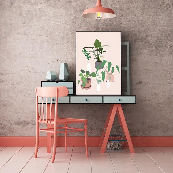 How cute is this botanical art!? This fun and modern botanical print art by Jules Tillman has a fresh, Jungalow style. With its millennial pink background and varying shades of green, white, terra cotta and grey, this wall art would make a joyful, stylish statement to your home.