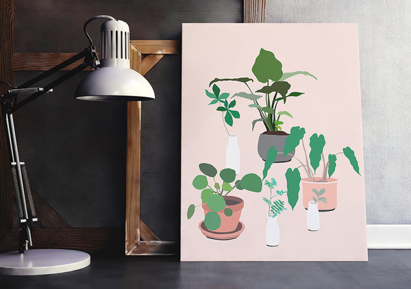 So pretty! This fun and modern botanical print art by Jules Tillman has a fresh, Jungalow style. With its millennial pink background and varying shades of green, white, terra cotta and grey, this wall art would make a joyful, stylish statement to your home.