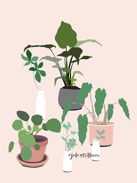 This fun and modern botanical print art by Jules Tillman has a fresh, Jungalow style. With its millennial pink background and varying shades of green, white, terra cotta and grey, this wall art would make a joyful, stylish statement to your home.