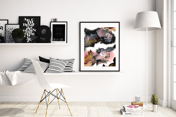 Reflections by Jules Tillman - Fine Art Abstract Painting Print in Pink, Black, Gold and White