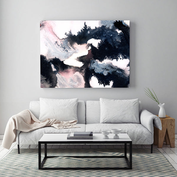 """Rigel"" by Jules Tillman Fine Art Abstract Painting Print modern abstract watercolor painting white soft pink black silver minimal"